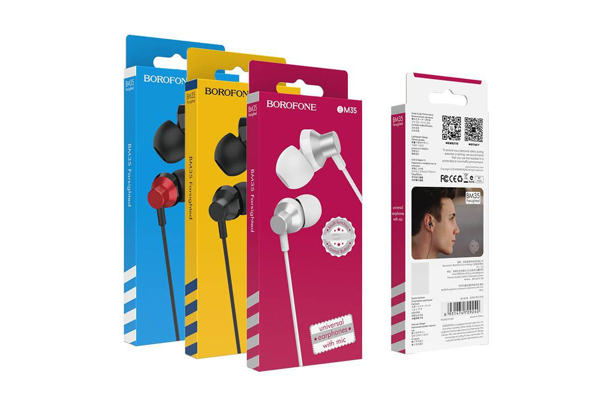 Гарнитура BOROFONE BM35 Farsighted universal earphones 3.5мм цвет красная