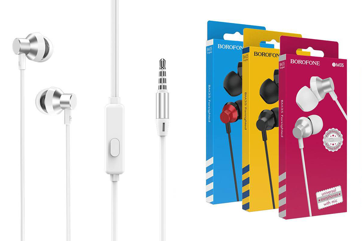 Гарнитура BOROFONE BM35 Farsighted universal earphones 3.5мм цвет серебристая