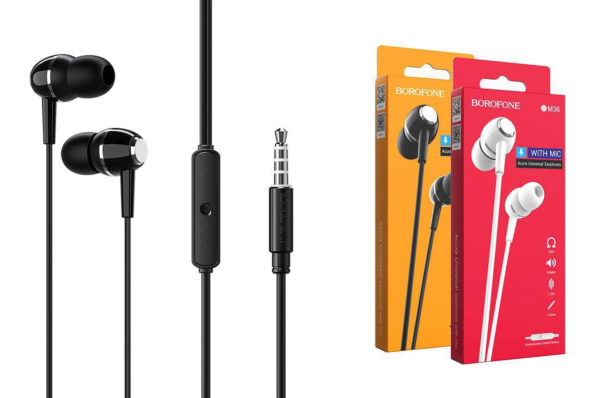 Гарнитура BOROFONE BM36 Acura universal earphones 3.5мм цвет черная