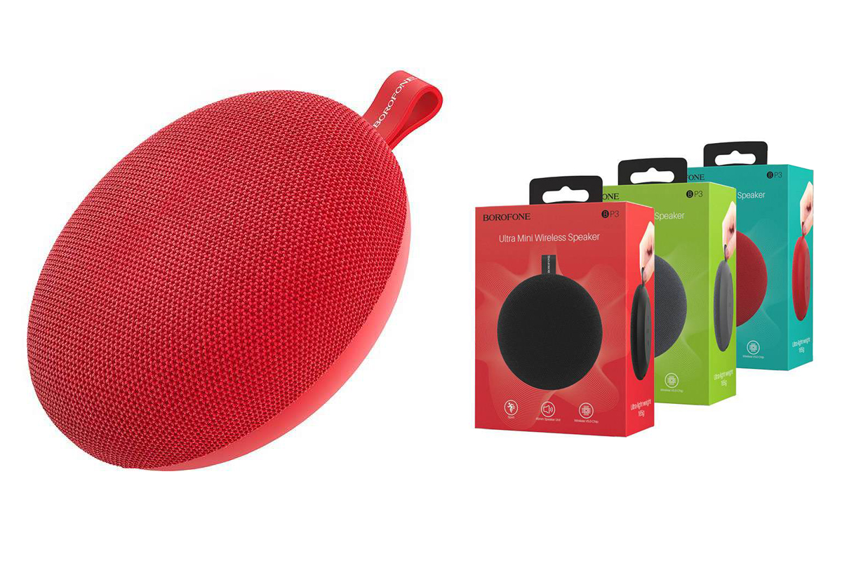 Портативная беспроводная акустика BOROFONE BP3  цвет красный