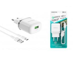 Сетевое зарядное устройство USB 3000mAh + кабель Type-C USB BOROFONE BA36A QC3.0 charger set белый