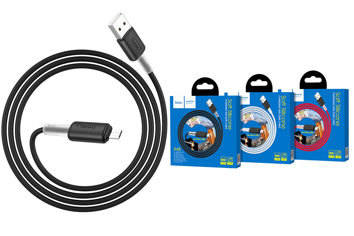 Кабель USB micro USB HOCO X48 Soft silicone charging data cable 1 метр черный