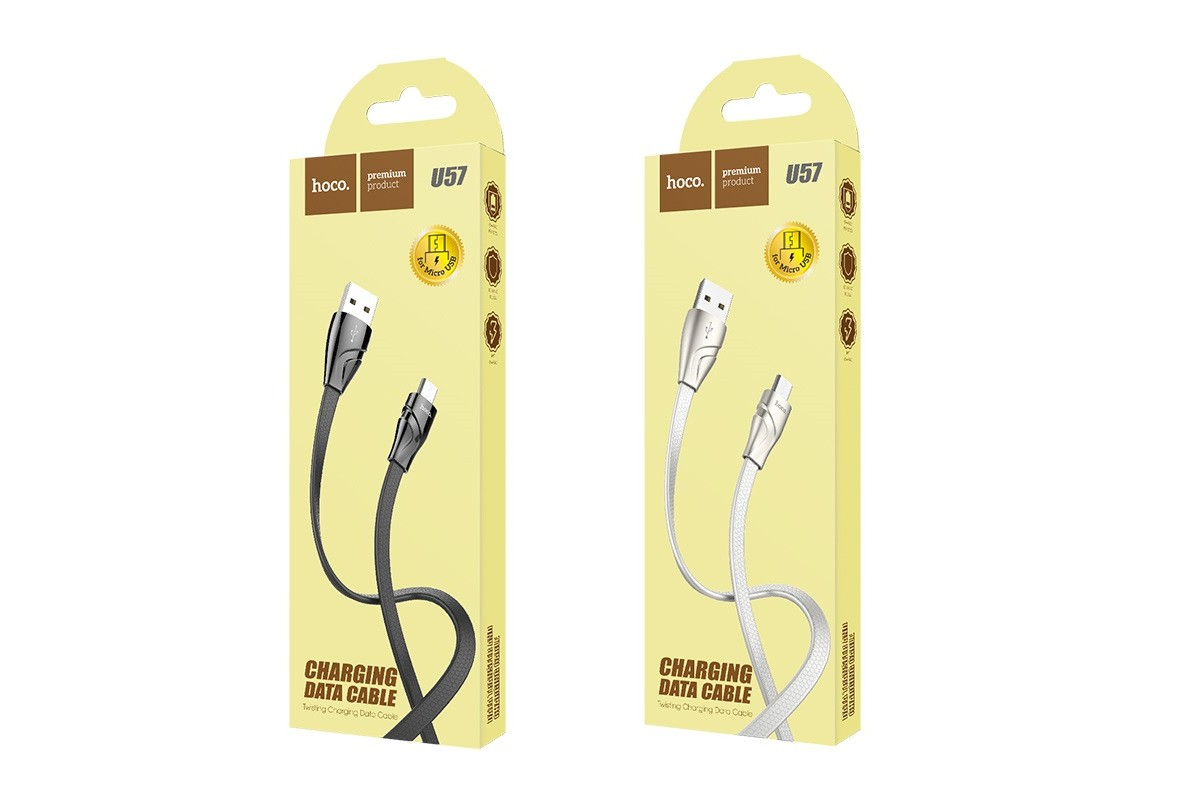 Кабель USB micro USB HOCO U57 Twisting charging data cable  (черный) 1 метр