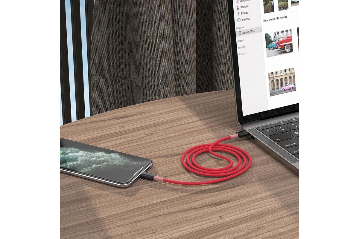 Кабель для iPhone HOCO X48 Soft silicone charging data cable for Lightning 1м красный