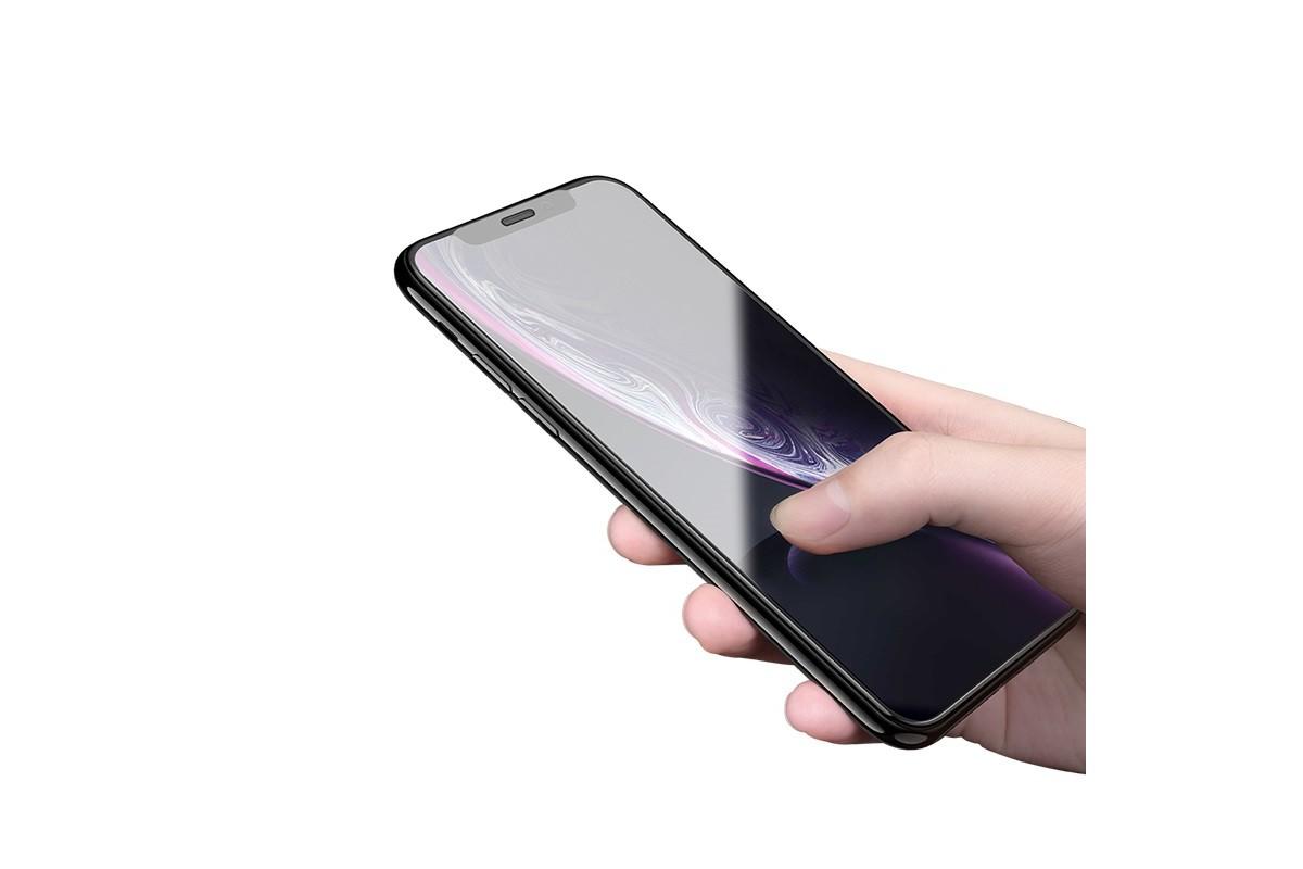 Защитное стекло дисплея iPhone XR/11 (6.1)  HOCO Flash attach Full Screen silk HD tempered glass  черное