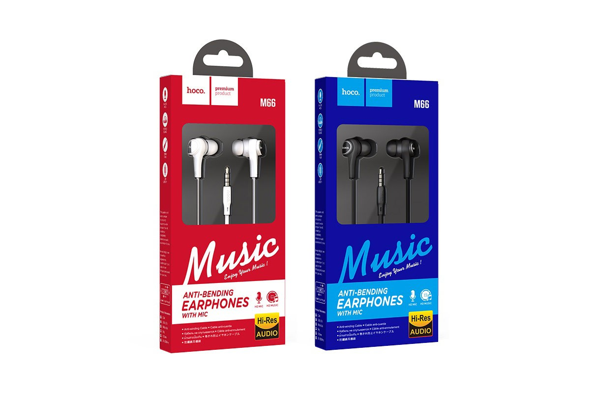 Гарнитура HOCO M66 Passion in line control earphones черная