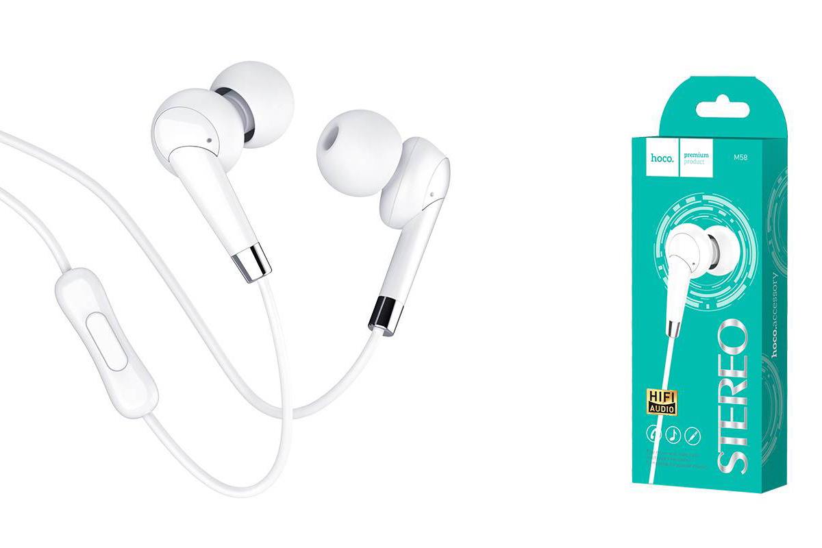 Гарнитура HOCO M58 Amazing universal earphones белая