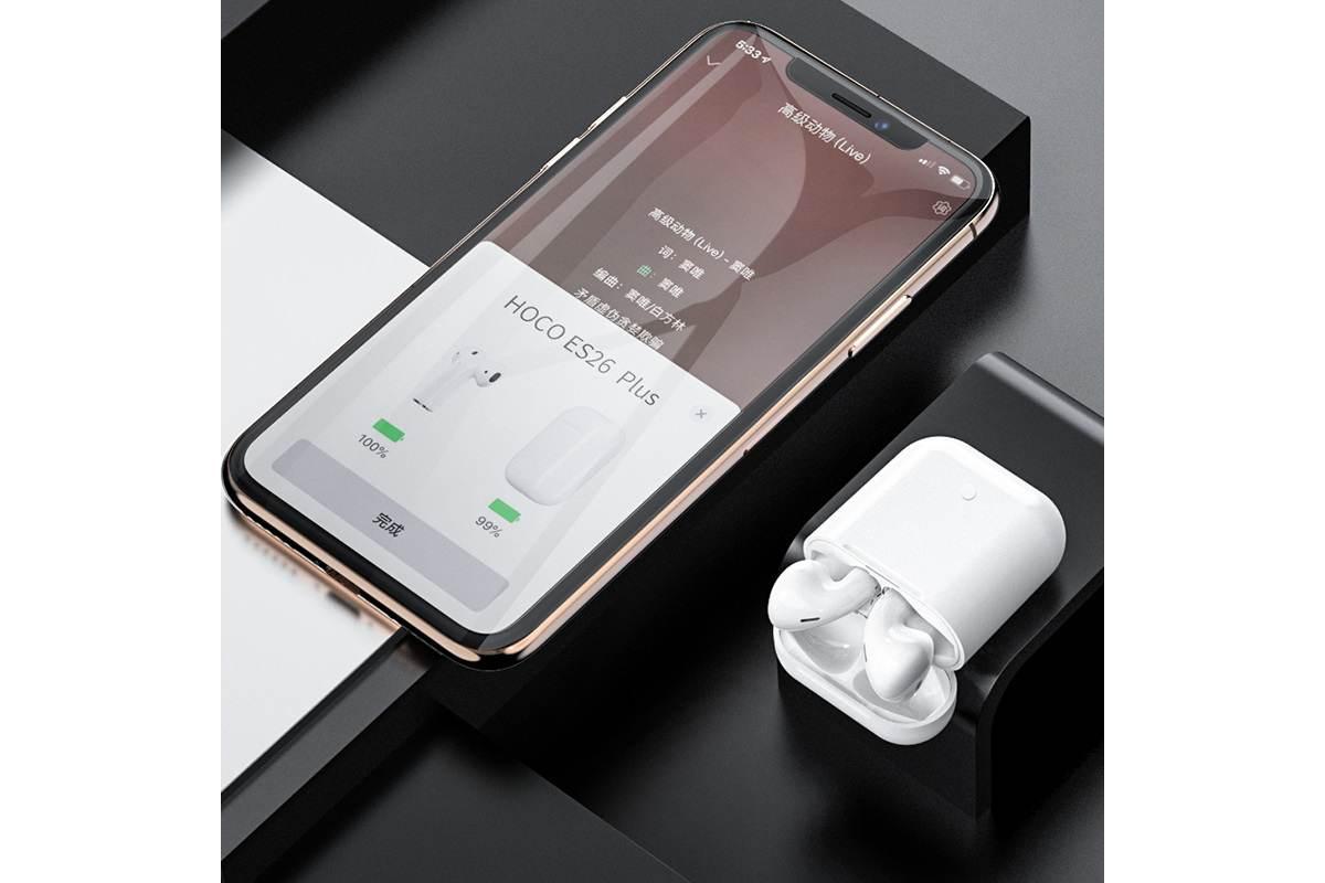 Bluetooth-гарнитура ES26 Plus Original series apple wireless  HOCO белая + заушники