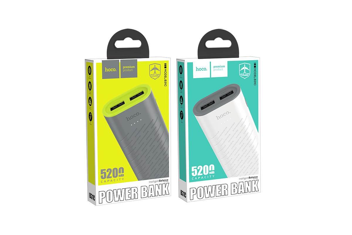 Универсальный дополнительный аккумулятор HOCO B31C Sharp mobile power bank 5200 mAh белый