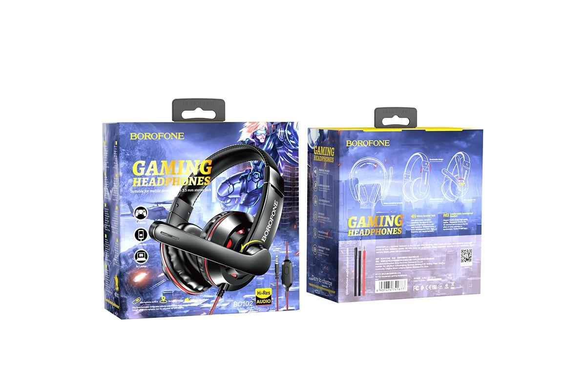 Наушники игровые BO102 BOROFONE Amusement gaming headphones красный (игровые с гарнитурой)