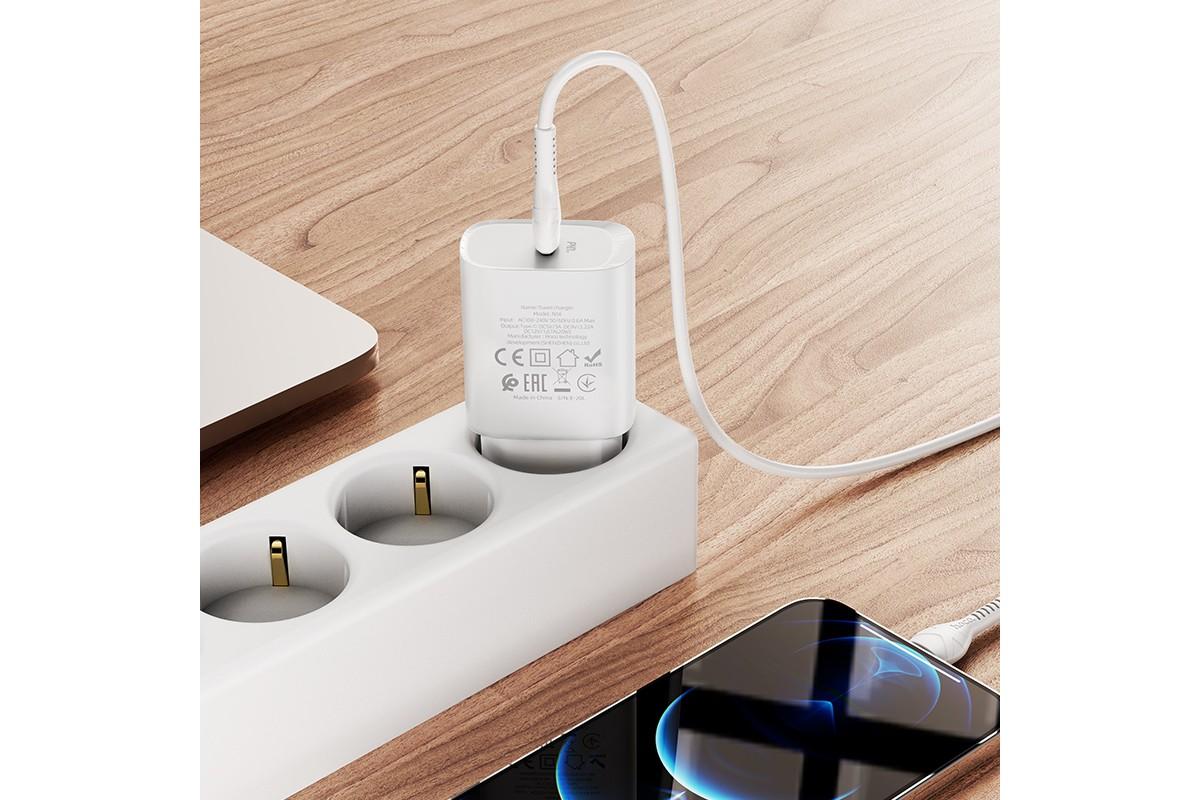 Сетевое зарядное устройство USB + кабель Lightning HOCO N14 PD20W+QC 3.0 белый
