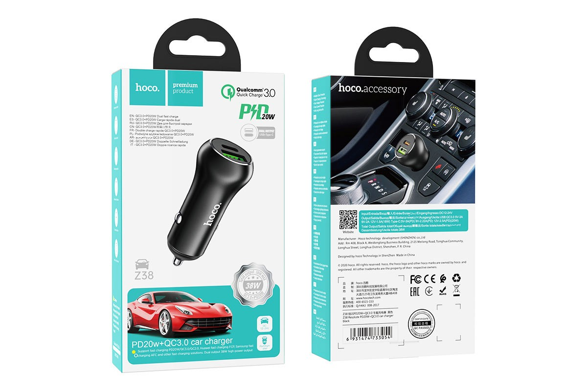 Автомобильное зарядное устройство USB+Type-C HOCO Z38 Resolute PD20W+QC3.0 car charger черный