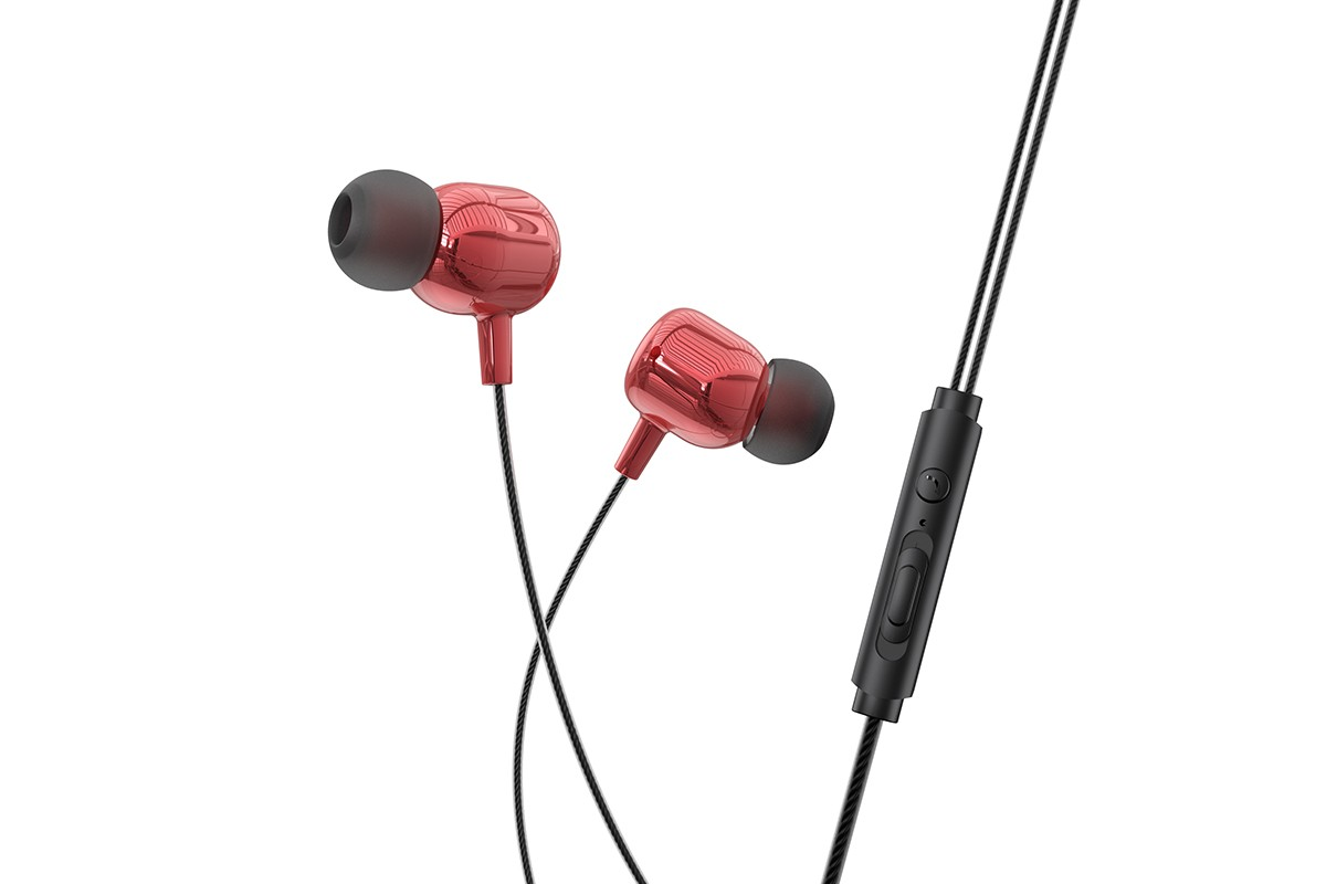 Наушники HOCO M87 String wired earphones with with microphone красная