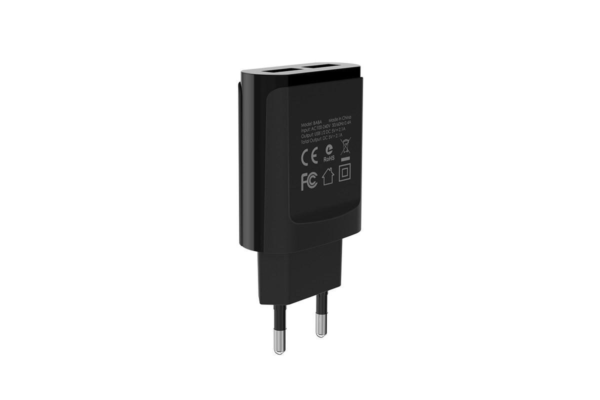 Сетевое зарядное устройство 2 USB 2100mAh  BOROFONE BA8A LePlug double port charger черный
