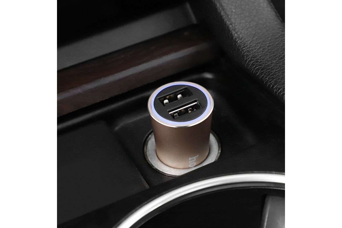 Автомобильное зарядное устройство 2USB HOCO Z30A Easy route dual port car charger 3100 mAh золото
