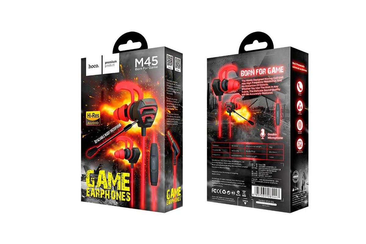 Гарнитура HOCO M45 Promenade universal earphones with microphone  3.5мм черный