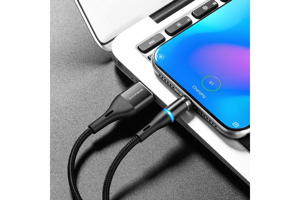 Кабель USB BOROFONE BU16 Skill magnetic charging cable for Type-C (черный) 1 метр