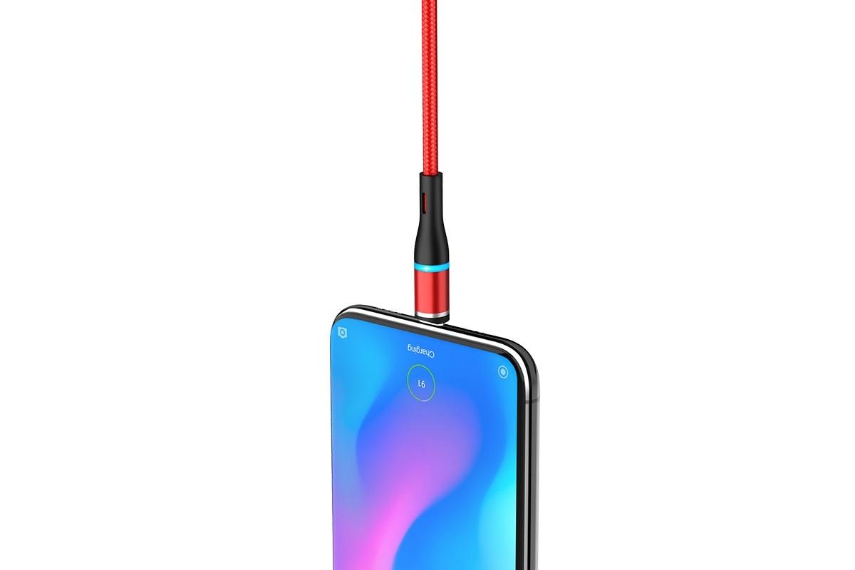 Кабель USB BOROFONE BU16 Skill magnetic charging cable for Type-C (красный) 1 метр
