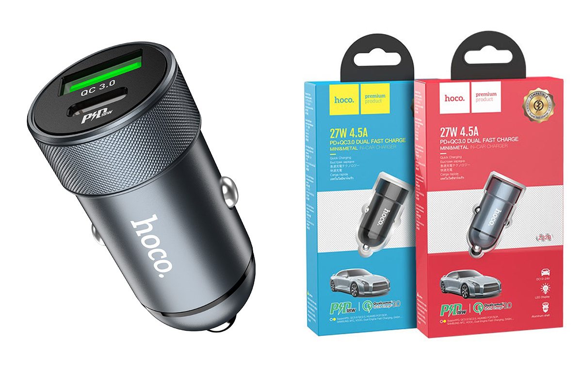 Автомобильное зарядное устройство Type-C HOCO Z32B Speed up PD27W+QC3.0 car charger серый