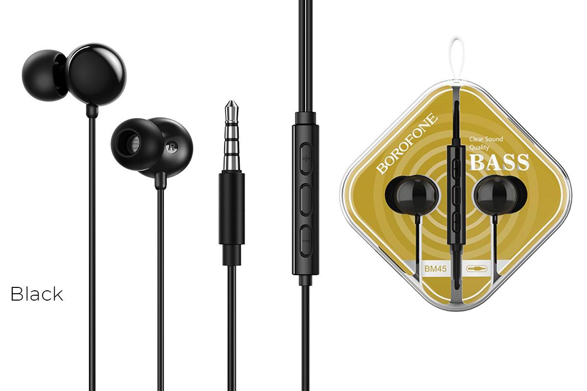 Наушники BOROFONE BM45 Sound wavel earphones 3.5 мм цвет черный