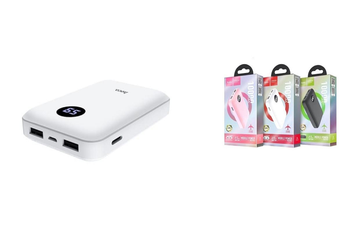 Универсальный дополнительный аккумулятор HOCO  BDY02 Digital display power bank (10000mAh) белый