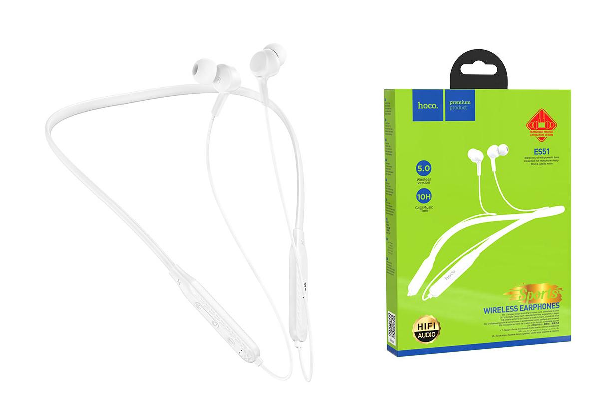 Bluetooth-гарнитура ES51 Era sports wiereless headset HOCO белая