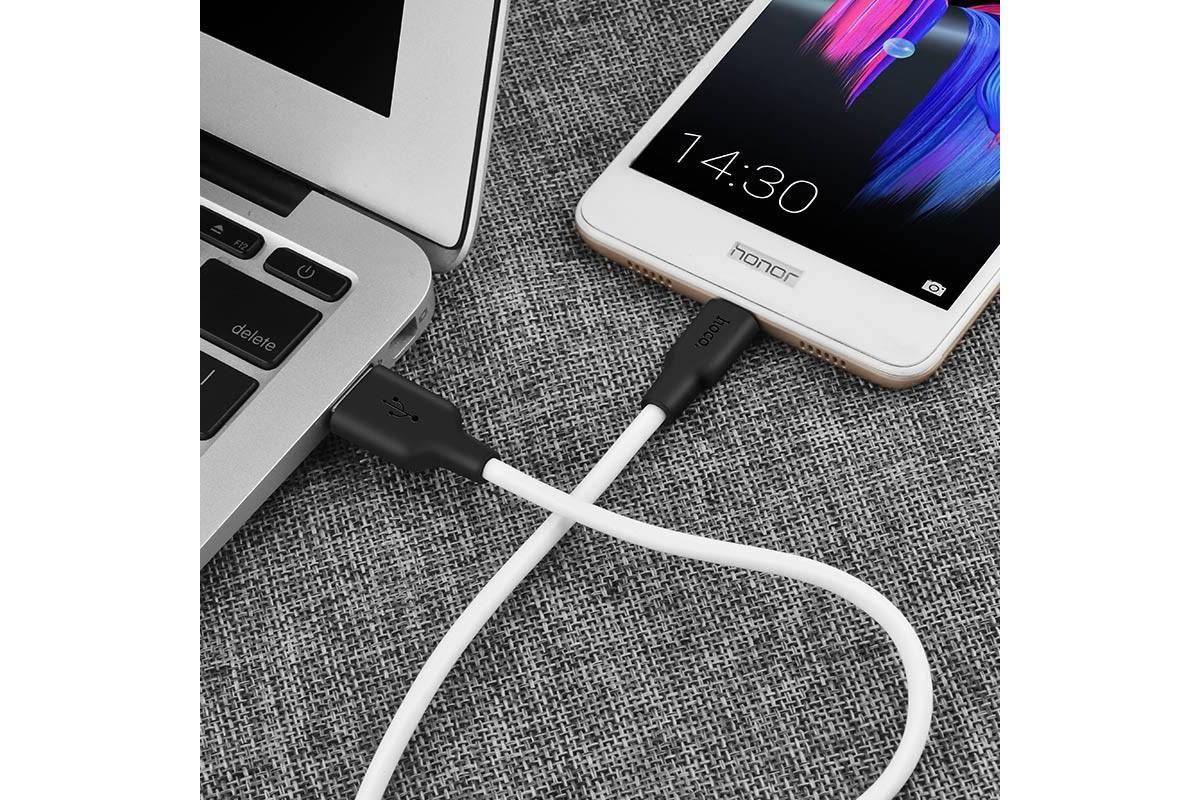Кабель USB micro HOCO X21 Plus Silicone charging cable  (черно-белый) 2 метр