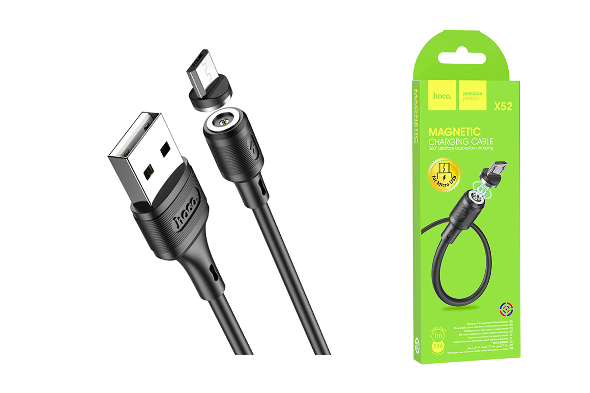 USB D.CABLE micro USB HOCO X52 Sereno magnetic charging cable for Micro (черный) 1 метр