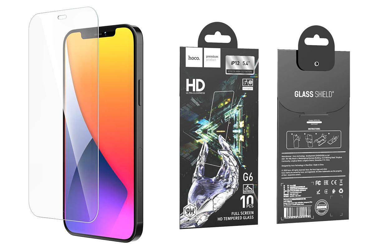 Защитное стекло дисплея iPhone 12 Mini (5.4)  HOCO G6 Full screen HD tempered glass прозрачное