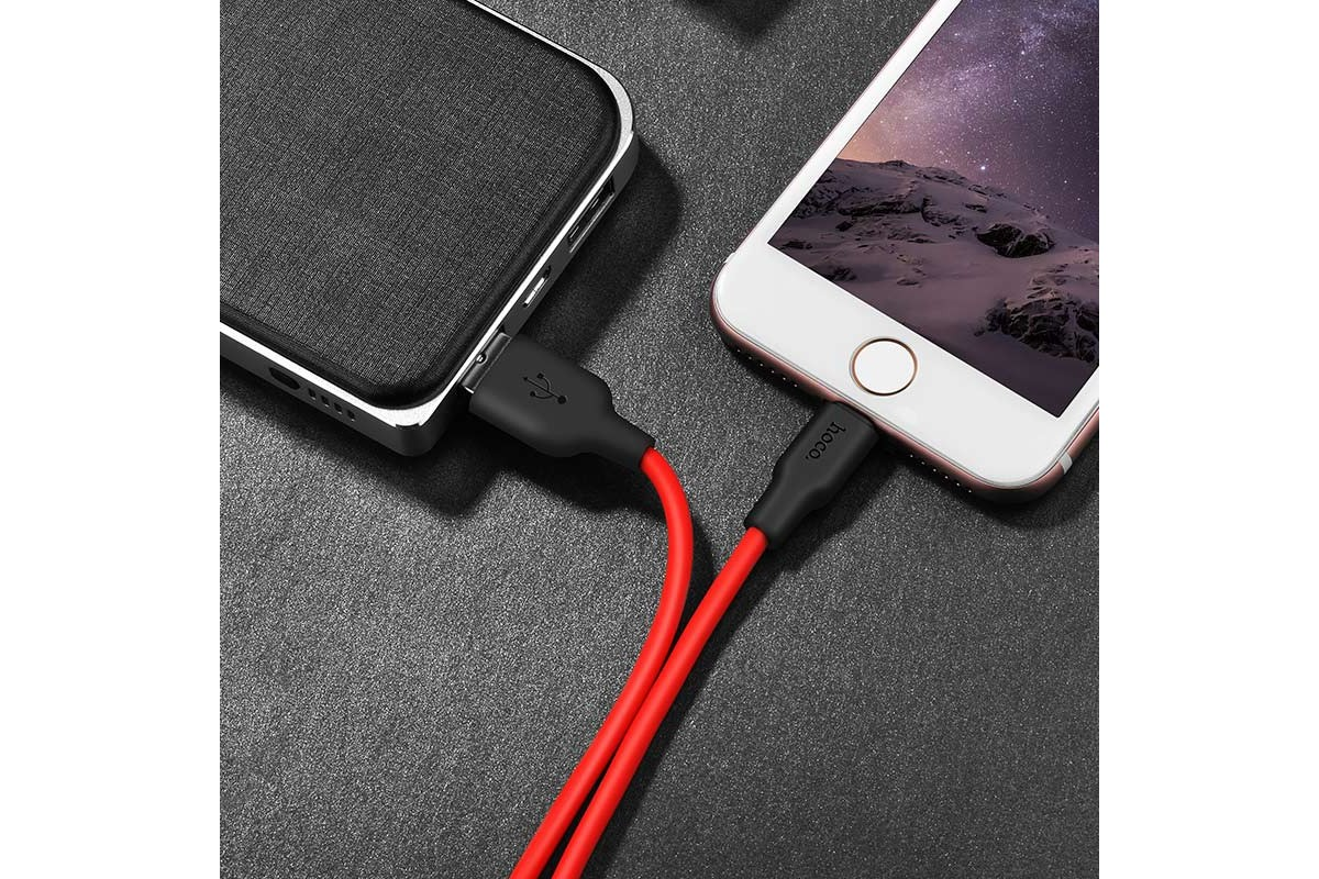 Кабель для iPhone HOCO X21 Silicone charging cable for Lightning 1м черно-красный