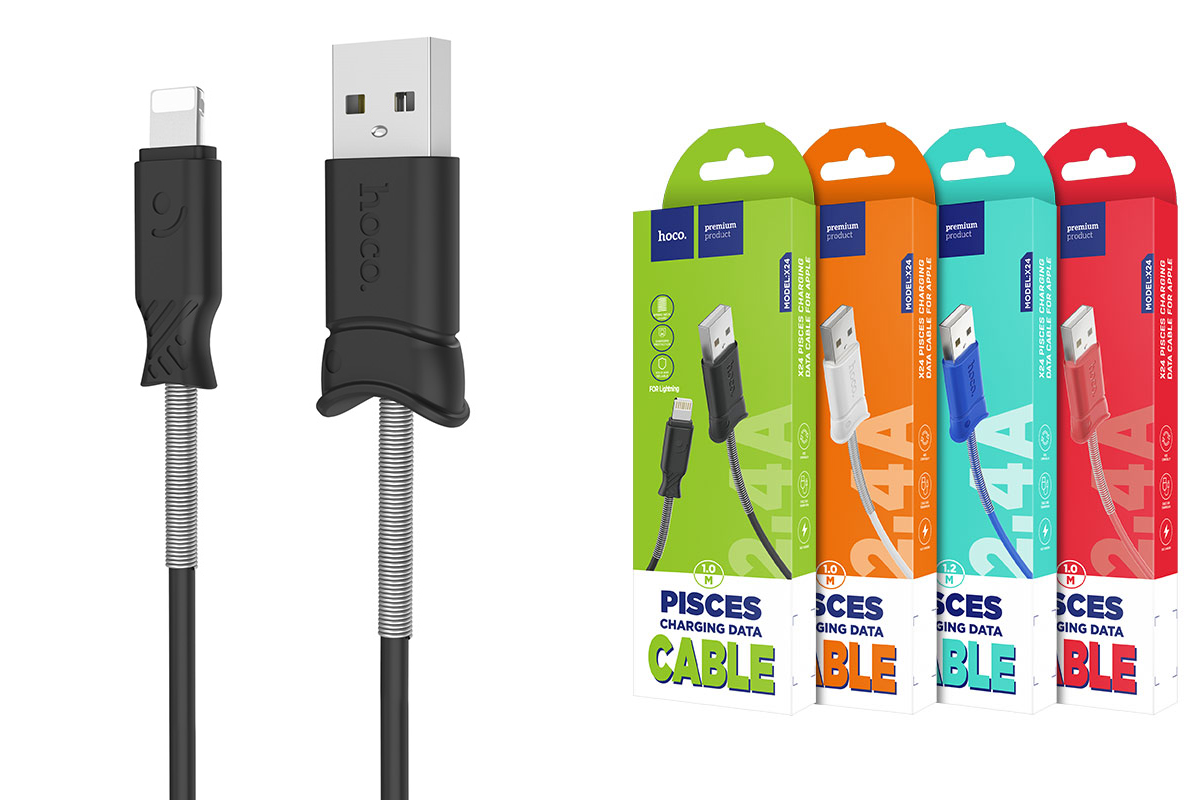 Кабель для iPhone HOCO X24 Pisces charging data cable 1м черный