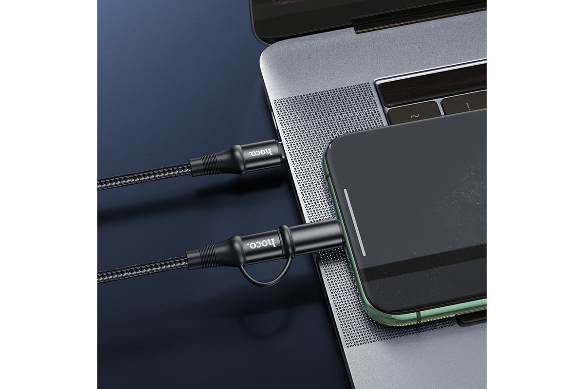 HOCO X50 Excellent charging data cable for Lightning / Tupe C 2 in 1 1м черный