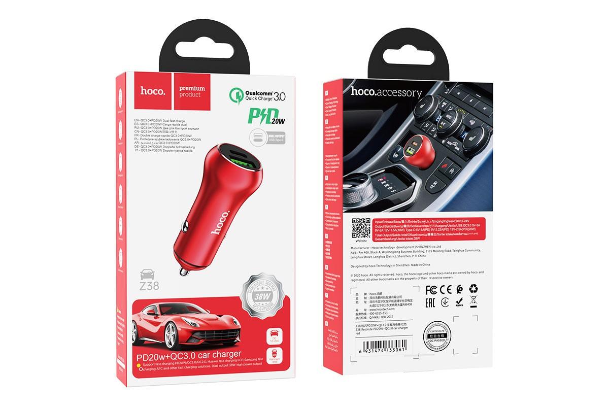 Автомобильное зарядное устройство USB+Type-C HOCO Z38 Resolute PD20W+QC3.0 car charger красный