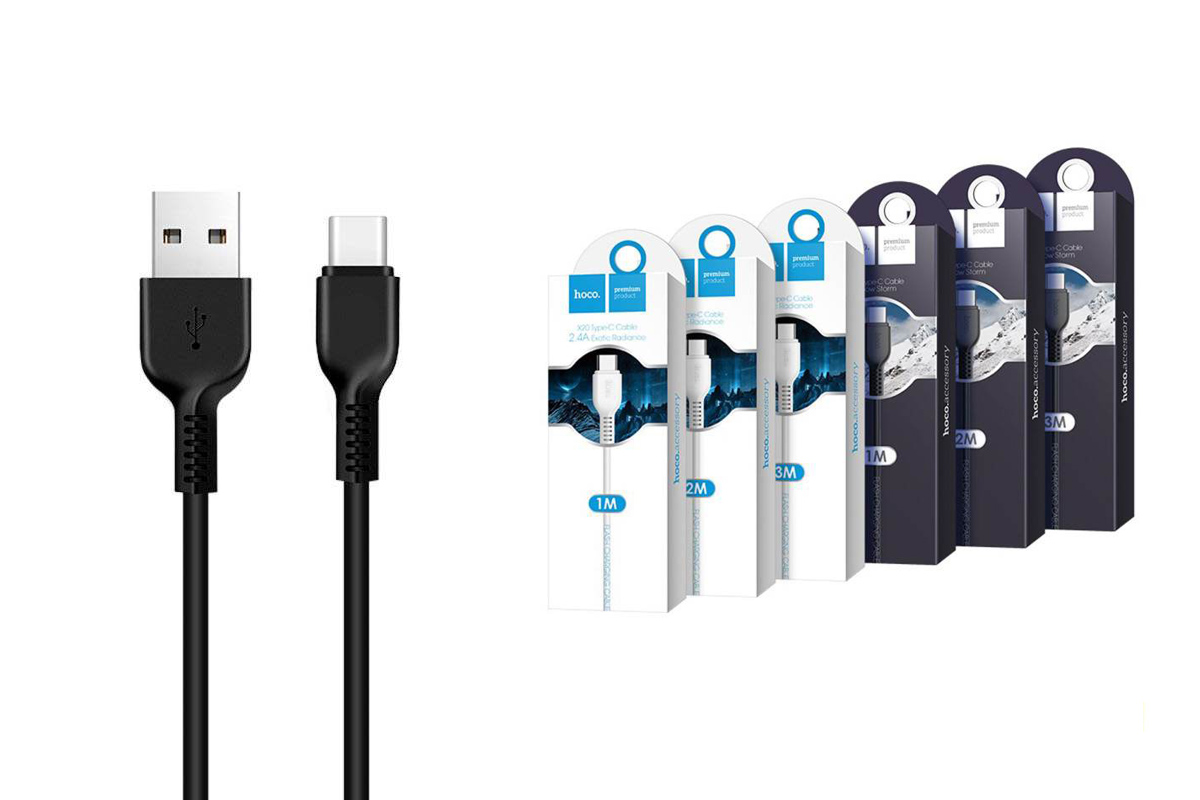 Кабель USB HOCO X20 Flash Type-C cable (черный) 2 метр