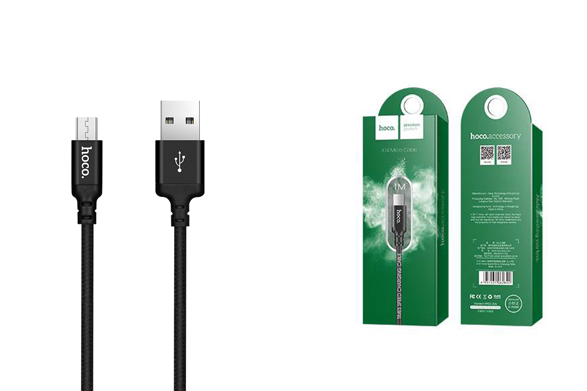 Кабель USB micro USB HOCO X14 Times speed charging cable (черный) 1 метр