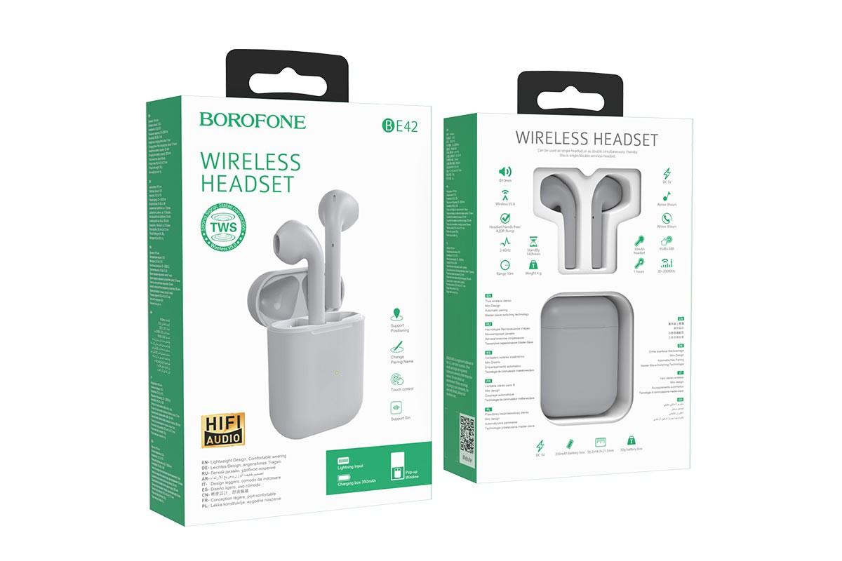 Беспроводные наушники BOROFONE BE42 Feliz TWS wireless earphonesl 3.5мм цвет белая