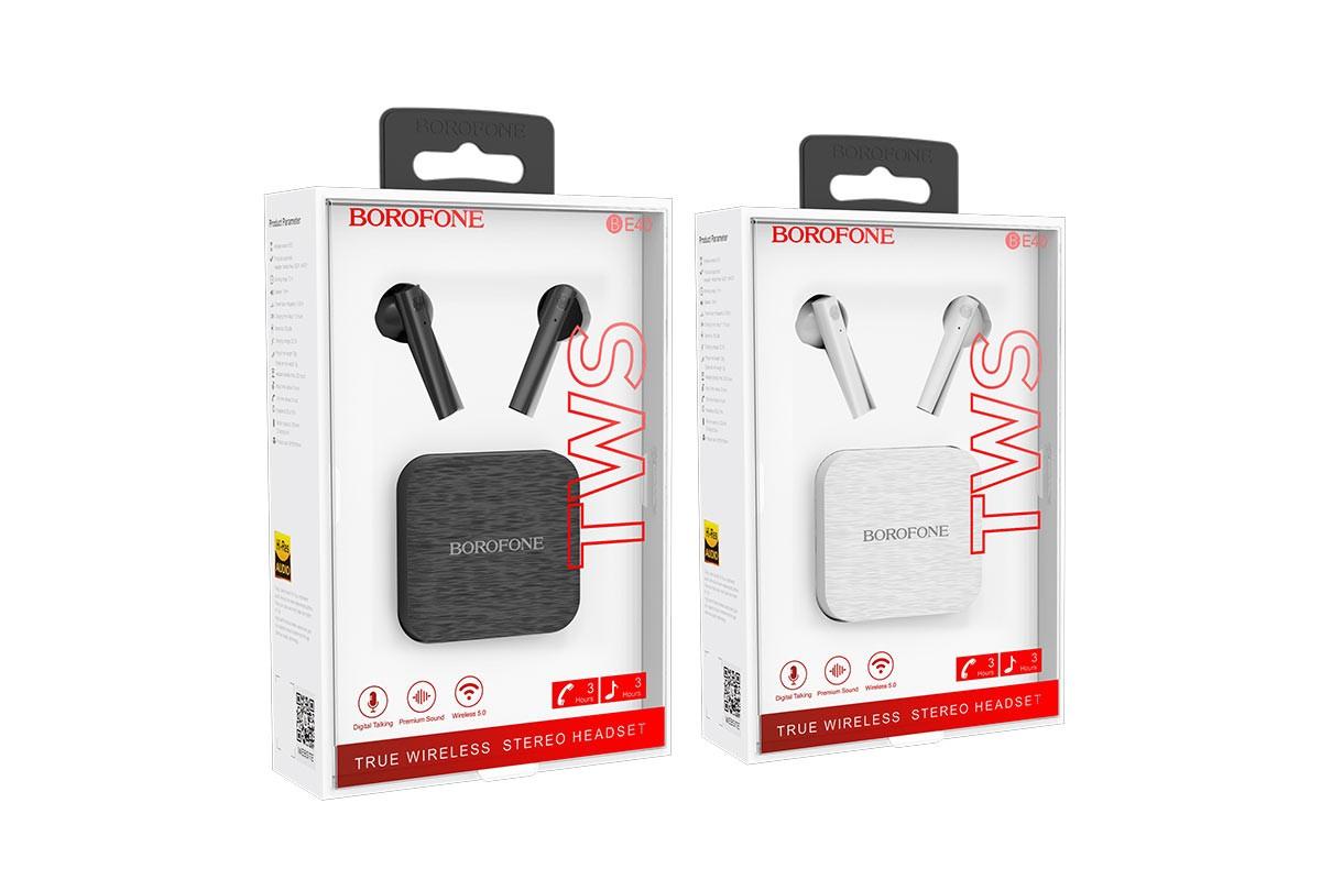 Беспроводные наушники BOROFONE BE40 Triumph TWS wireless earphonesl 3.5мм цвет черная