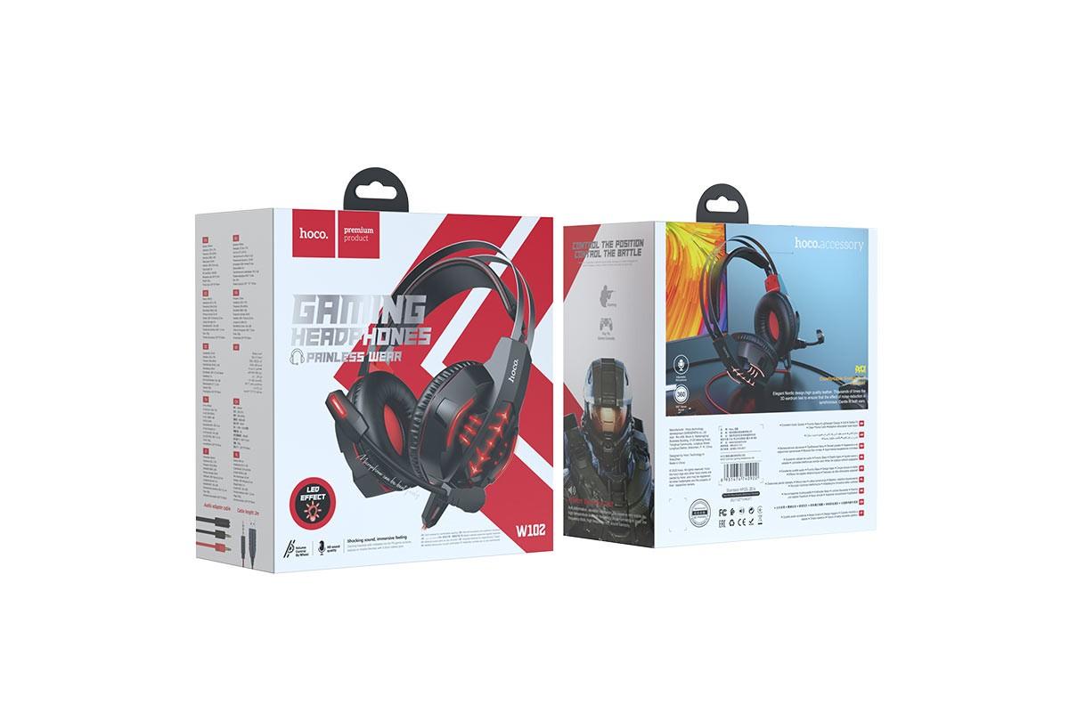 Наушники игровые HOCO W102 Cool tour gaming headphones черно красные
