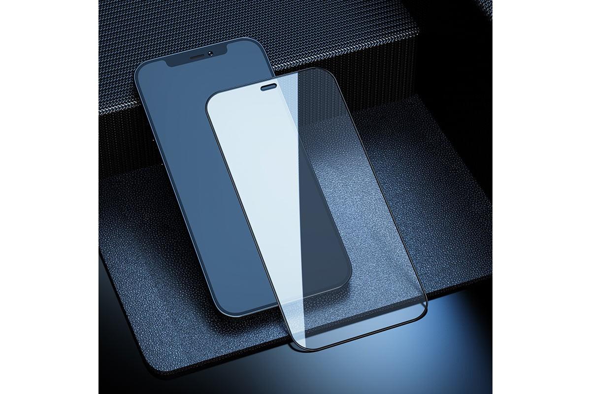 Защитное стекло дисплея iPhone 12/12 Pro (6.1)  HOCO A19 Shatterproof  tempered glass черное
