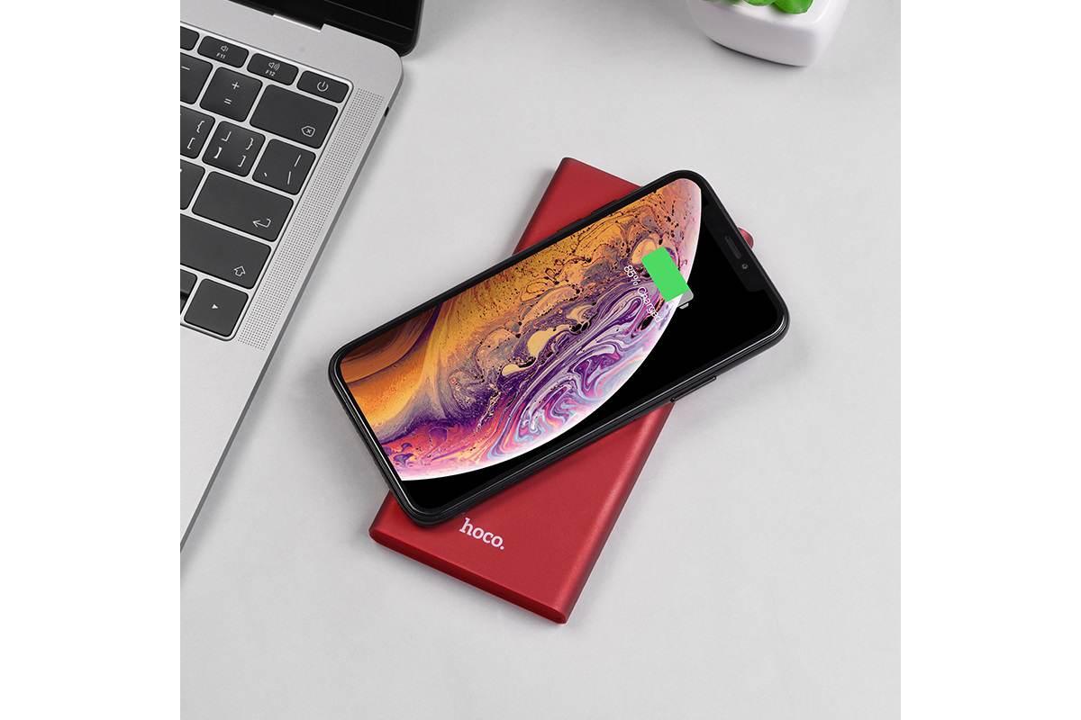 Универсальный дополнительный аккумулятор HOCO  J37 Wisdom wireless charging mobile 10000 mAh  красный