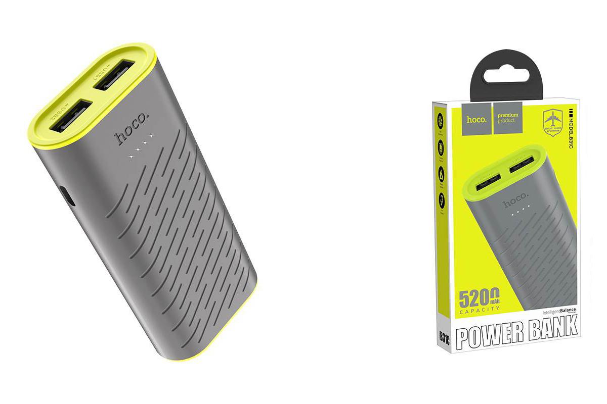 Универсальный дополнительный аккумулятор HOCO B31C Sharp mobile power bank 5200 mAh серый
