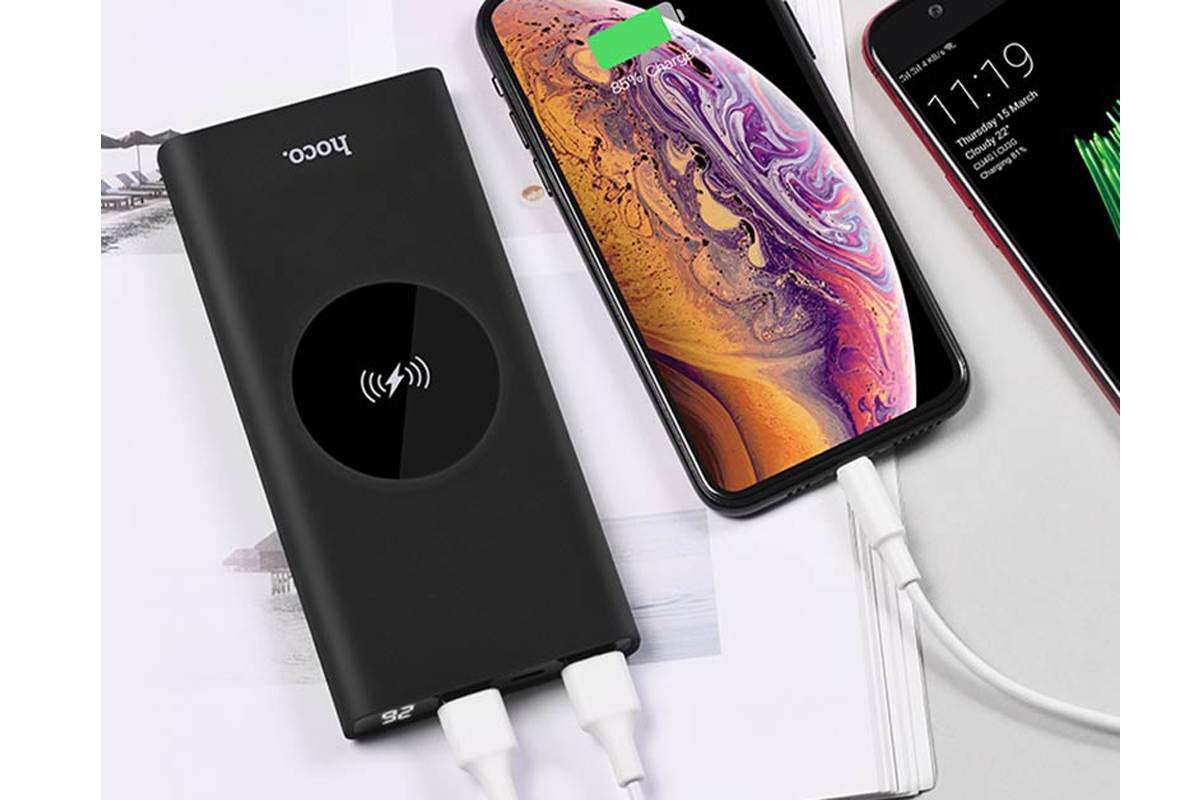 Универсальный дополнительный аккумулятор HOCO  J37 Wisdom wireless charging mobile 10000 mAh черный
