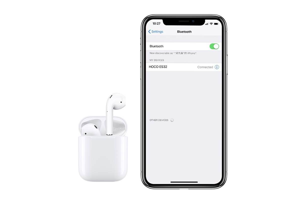 Bluetooth-гарнитура ES32 Original series apple wireless headset HOCO белая (Красный силиконовый чехол) + заушники