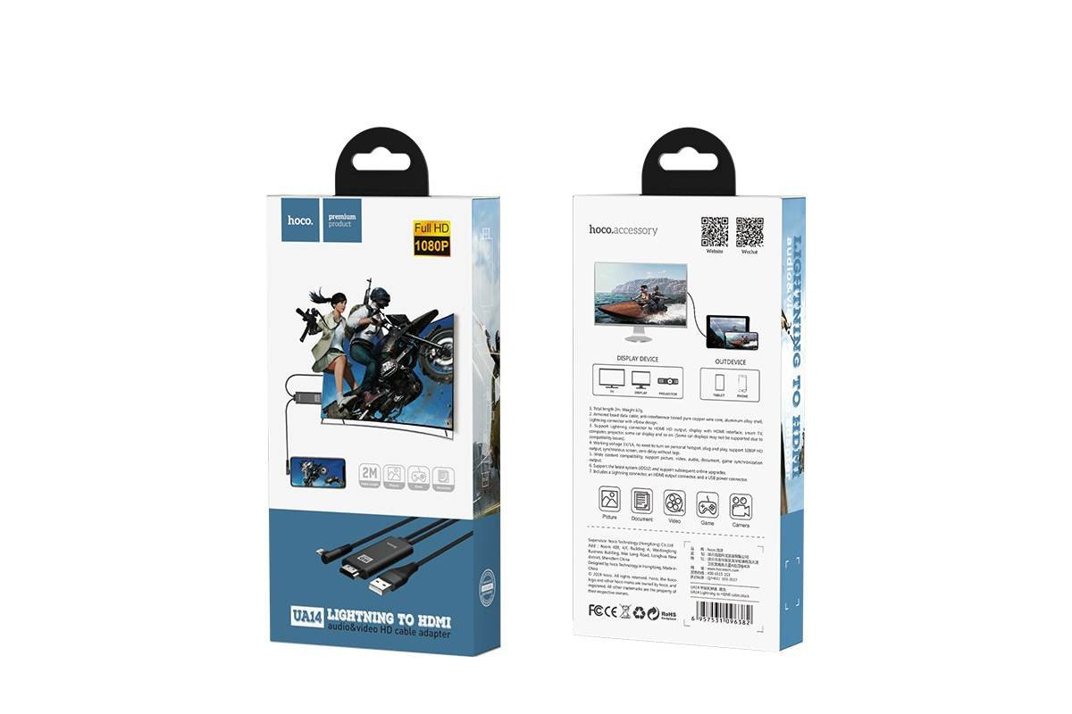 HDMI кабель HOCO UA14 Lightning to HDMI cable (L=1.8M)