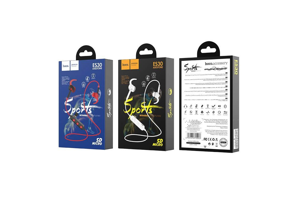 Bluetooth-гарнитура ES30 Axestone sports wireless earphones HOCO белая