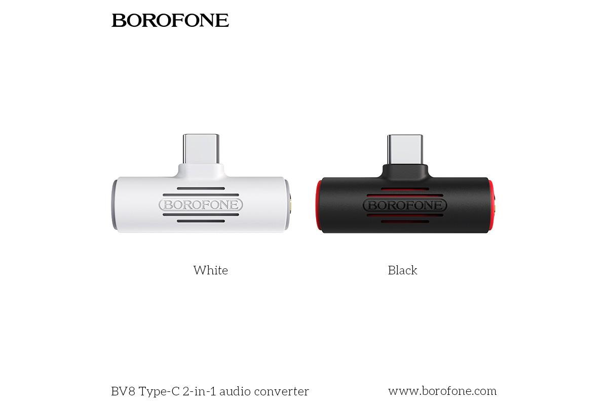 Адаптер-переходник BOROFONE BV8 Type-C 2-in1 audio converter
