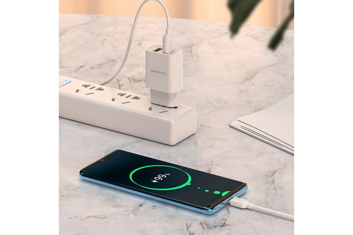 Сетевое зарядное устройство  2 USB 2400 mAh + кабель micro USB BOROFONE BA53A Powerway dual port charger белый