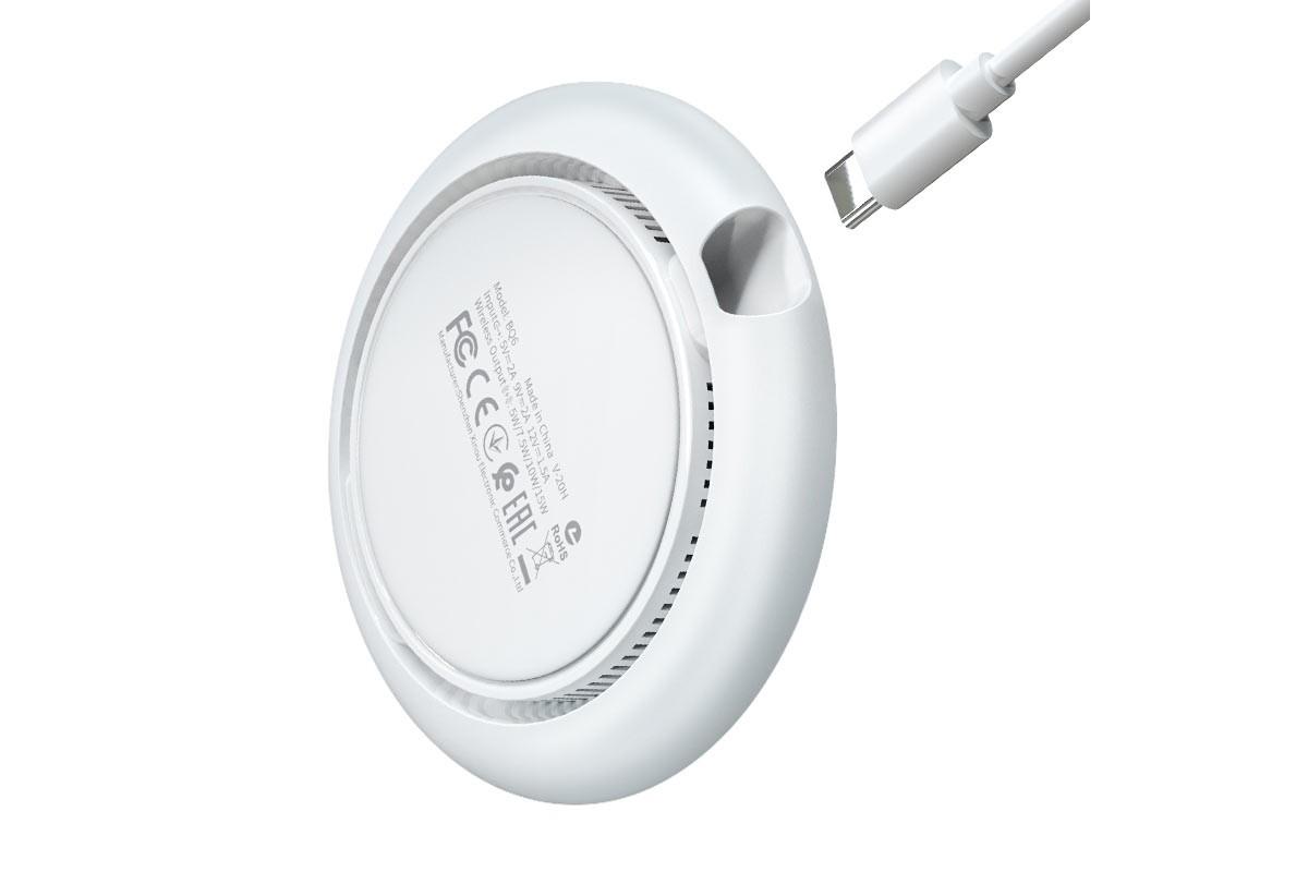 Настольная беспроводная зарядная станция BOROFONE BQ6 Boon 15W charger белая