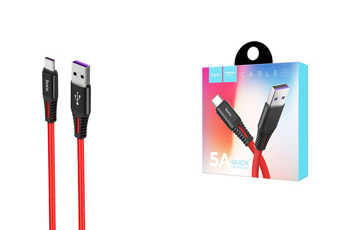 Кабель USB HOCO X22 type-c 5A quick charging cable (красный) 1 метр