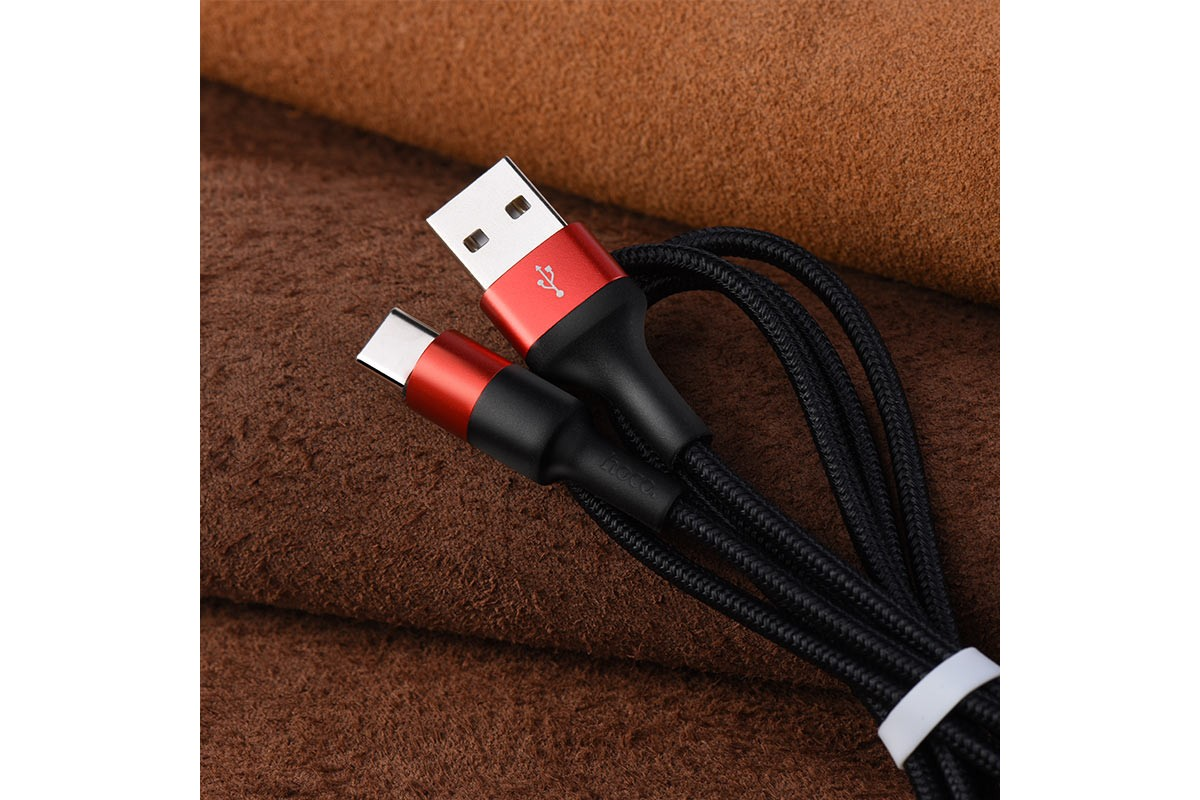 USB D.CABLE HOCO X26 Xpress charging data cable for Type-C (черно-красный) 1 метр